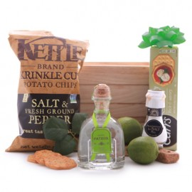 Patron Silver Tequila and Savory Treats Basket