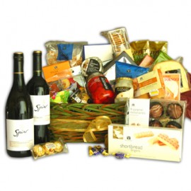 Wine, Chocolate and Cheese Deluxe Basket