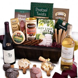 A Bushel and Pinot Gift Basket